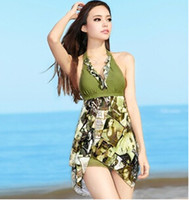 bathing breasts - Hot Sale Female Bikini Swimwear One Pieces Dress Small Breasts Together Conservative Bathing Suit High Quality
