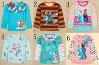 2014 new arrivals Frozen girls winter long sleeve t- shirts c...