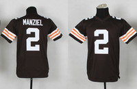 Wholesale Johnny Manziel Youth Browns Football Jerseys New Draft American Football Team Jerseys for Kids Highest Quality Outdoor Sports Shirts