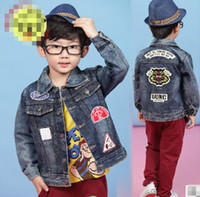 Wholesale 2014 New Autumn Spring Hot Sell Children Boys Square Cut Collar Outwear Fashion Long Sleeve Jean Jacket Kids Coat Kids Blue T E0327