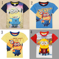 Cheap 2014 summer kids clothes despicable me minion print t-shirts for boys tshirts badge embroidery design cartoon