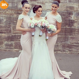 Cheap Mermaid Bridesmaid Dresses Jewel Beading Capped Sleeve Maid of Honor Dresses Zipper Back Custom Made Wedding Guest Dress