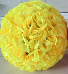 15cm to 30cm Elegant Yellow Artificial Silk Rose Flower Balls Hanging Kissing Ball For Wedding Xmas Decorations