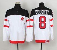 Cheap 1914-2014 Canadians 100th Anniversary Olympic Hockey Jerseys #8 Drew Doughty White Jerseys IIHF Patch 2014 Brand New Sports Jerseys for Sale