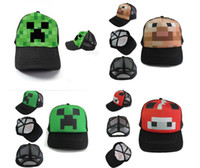 Wholesale 50pcs Minecraft Creeper Mesh Caps Cartoon Trucker Caps Lorry Caps Men Adjustbale Hats colors