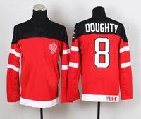 Cheap 1914-2014 Canadians 100th Anniversary Olympic Hockey Jerseys Red #8 Drew Doughty Jersey IIHF Patch Men's Sport Jerseys Winter Ice Sportswear
