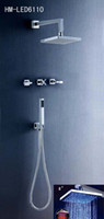 Wholesale Luxury Bathroom Chromed Conceal Shower Mixer Valve With inches LED Shower Head and Hand shower LED6110