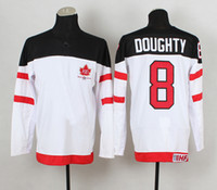 Cheap 1914-2014 Canadians 100th Anniversary Olympic Hockey Jerseys #8 Drew Doughty White Jerseys IIHF Patch 2014 Brand New Sports Jerseys for Sale