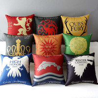 adult car games - 9 styles Sofa Cushion Covers Game of Thrones Ice and Fire Pillow Case Office Car Pillow Covers Home Bedroom Decoration Wedding Gift