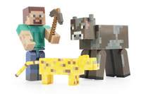 Wholesale 3pcs set Game Minecraft The Player Steve Yellow Cat and Cow PVC Action Figure Collection Model Toy