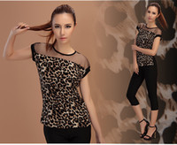 Wholesale 2014 new summer korean Slim short sleeve leopard hollow chiffon casual women blouse Women Sexy Mesh Tops