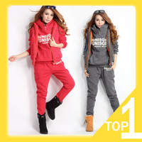 Cheap 2014 New Women's Winter Warm Hoodie Suit, Letter Print Casual Sweatshirt,Sports Clothing Set, HOOD & Vest & Pants, M L XL A4057