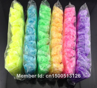 Bangle Unisex Fashion Wholesale-MN-400packs lot glow in the dark refill rubber bands for loom kit 600pcs bands+25 S clips in stock 7colors to choose
