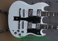 Cheap SG White Rosewood Fingerboard Double Necks 12 6 18 Strings H-H 2 Pickups Jade Tuning Machine Silver Hardware Electric Guitar No.0004-230 FS