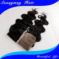Cheap Stock!!!Sunnymay 3.5x4 silk top lace closure 120% density brazilian virgin hair body wave silk based closure free part