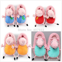 Cheap 40pairs lot New 2014 Peppa pig family Plush Slippers Peppa pig George pig Mummy pig and Daddy Pig indoor Slipper plush shoes