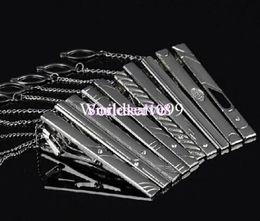 Wholesale Mens Metal Tie Clips Bar Silver Tone Simple Diamond Wedding Necktie Clasp Clip Pins
