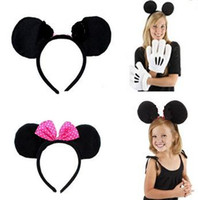 Cheap Minnie mouse Party Children Accessories Mickey Mouse ear Baby Hair Accessories Bow Girls Headband kid birthday Headwear 20pcs