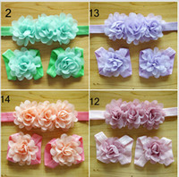 Wholesale Newborn Baby Girls Barefoot Socks Sandals and headband Set Shoes Kids Tulle Foot Ornaments Child Infant Flower Socks Color