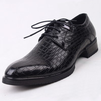 Wholesale New men s flats shoes increased genuine leather Crocodile comfortable breathable men shoes wedding shoes