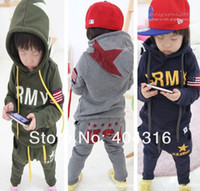 Wholesale Retail boys clothing sets children s suits autumn and winter long sleeved sport suit baby clothes kids wear