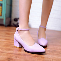 Cheap Women Fashion Spring Autumn Synthetic Leather Pointed Toe Sexy Med Heel Party Pumps Shoes US Size 3.5--10.5 D280