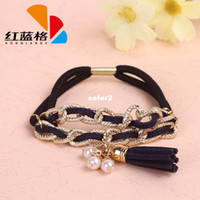 Cheap HLG new national high spirit decorated retro fashion personality metal edging tassel hair rope wholesale pearl embellishment