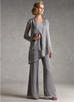 Wholesale GrayBlacknavy bluepurple Chiffon Casual sets Mother Of the Bride Pant Suits Plus Size With Long Sleeve Jacket dresses