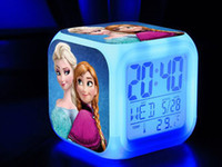 Wholesale Free EMS New frozen LED Colors Change Digital Alarm Clock Frozen Anna and Elsa Thermometer Night Colorful Glowing Clock A0705