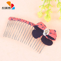 Cheap HLG new Korean fashion pearl embellishment fabric bow hair accessories comb hair accessories wholesale explosion models