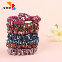 Cheap Yiwu HLG Korean fashion printed bow embellishment hair accessories hair ring wholesale small circle