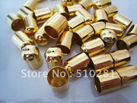 Cheap Bulk 1000piece Gold plated 6mm diameter For 5mm Round leather Cord End Buckle Cap bead free shipping
