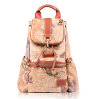 Wholesale Vintage Women s World Map Prints PCV Leather Backpack New Yellow Large Medium Buckle Flap Drawstring School Bags Sac dos