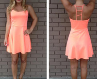 al por mayor vestidos de neón de coral-2014 anaranjado del nuevo de la manera ahueca hacia fuera el vestido de neón Coral Escalera Volver Vestido LQ4546