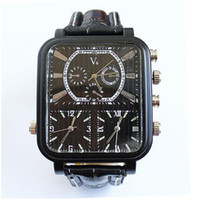 Cheap V6 brand watches men fashion movement outdoor sports large dial quartz leather strap 3 time clock free shipping