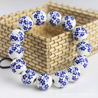 Cheap 17cm Chinese Traditional Wedding Jewelry Blue Orchid Ceramic Beads Bracelet,Free Shipping Wholesale 24pcs lot