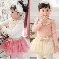 Wholesale piece spring autumn girls hubble bubble sleeve blouse bowknot hang a pearl Dresses NVTONGR031