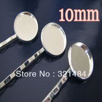 Wholesale 100pcs Silver Plated Metal Hair Bobby Pin with mm Glue Pad Blank Base For Jewelry DIY Findings Accessories