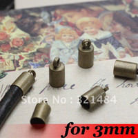 Cheap Free ship! For 3mm Leather Cord End Caps Fasteners Clasps 500PCS Antique bronze Tone Metal Jewelry Crimp Beads