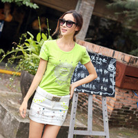 Cheap 2014 summer new Western style diamond embroidery cultivating wild fruit green short sleeve cotton T- shirt women