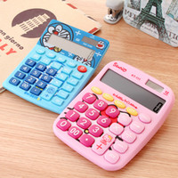 Wholesale Home lovely cartoon students Solar Calculator large screen display Dual power W2213