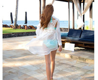 crochet bikini - Summer Fashion Women s Chiffon Backless Lace Crochet Bikini Swimwear Beach Cover Up Women Sexy White Bathing Suit Cover Ups swimsuit cover u