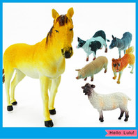 Wholesale a Set Farm Animal Horse Cattle Dog Sheep Pig Donkey Artificial Plastic Toy Figure Model Dolls YL