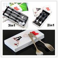 flatware - 2In1 In1 Coffee Love Fork Spoon Chopstick Set Lover Tea Party Wedding Favors Gift Stainless Steel Flatware Sets