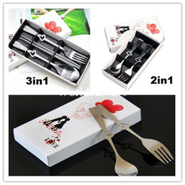 Wholesale 2In1 In1 Coffee Love Fork Spoon Chopstick Set Lover Tea Party Wedding Favors Gift Stainless Steel Flatware Sets