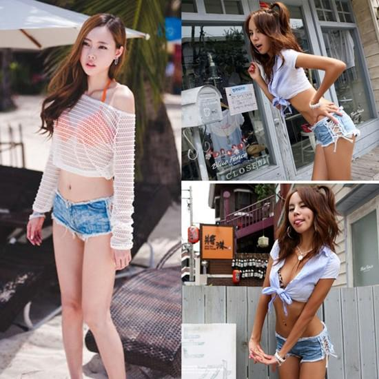 2017 Sexy Girls Side Straps Mini Jeans Shorts Hot Pants Trousers ...