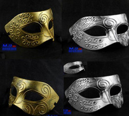 Wholesale LaoPan Men s ancient Greek and Roman warriors masquerade mask Gold and silver color optional