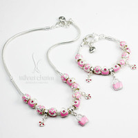 Cheap PA0091 pink flowers bags suit can be sold separately Clover Diamond Heart Pendant Alloy Beads