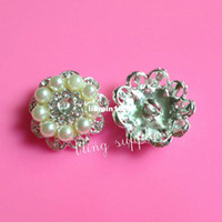Cheap Free shipping 25mm pearl rhinestone button embellishment with shank for hair bow center 100PCS LOT(BTN-5379)