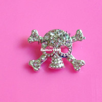 Cheap Free shipping 22*16mm skull rhinestone embellishment button with slider for hair bow center 100PCS lot(BTN-5330)